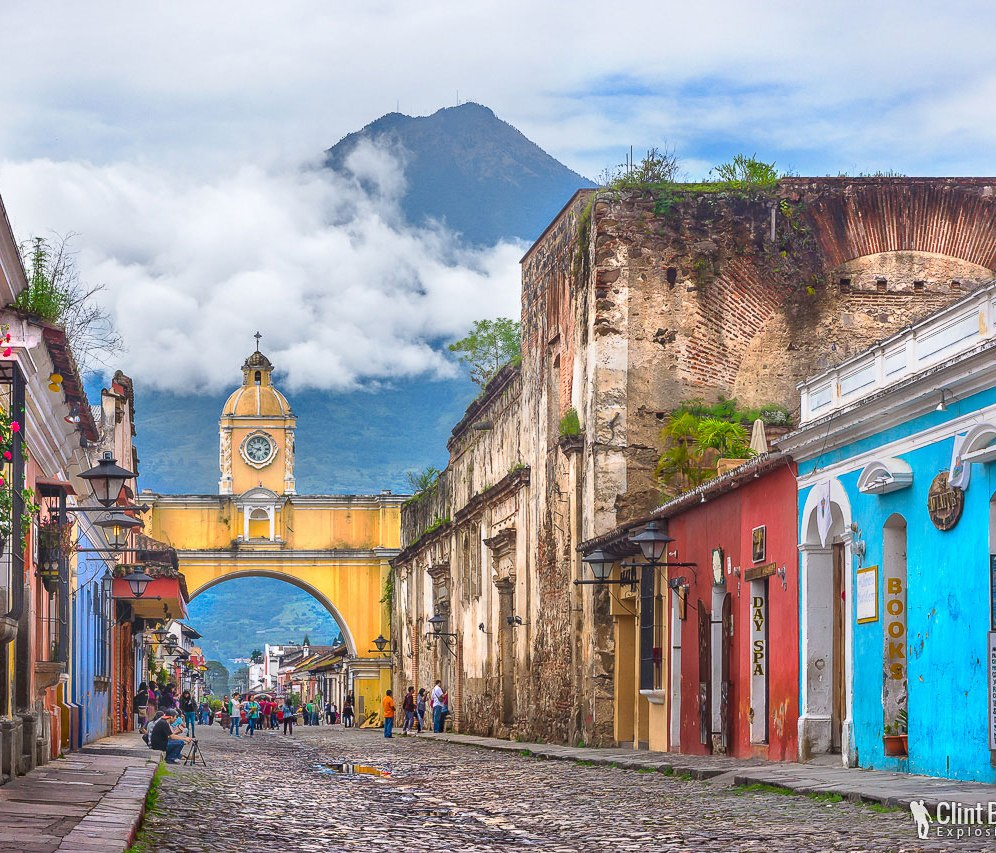 Antigua, Guatemala The beautiful streets of Antigua, with a backdrop of Volcano Agua